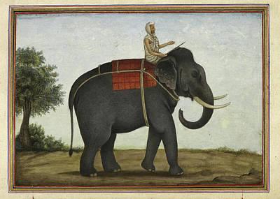 Animals Drawings - An Elephant Keeper Riding His Elephant - 1825 by VintageArtAssociates
