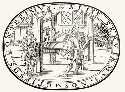 Printing Drawing - An English Printing Office, 1619. From by Vintage Design Pics