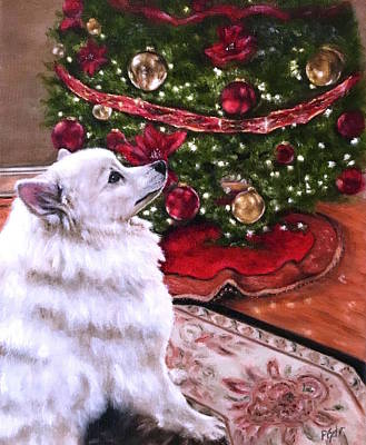 Painting - An Eskie Christmas by Dr Pat Gehr