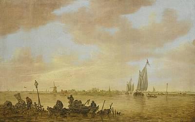 An Estuary Scene With Fisherman Emptying Fish Art Print by Jan Josefsz