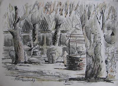 Eucalyptus Tree Drawing - An Eucalyptus Tree, Water Well And Trees by Alex Bendersky