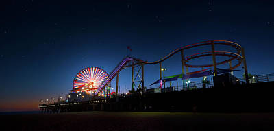 Photograph - An Evening At Santa Monica Pier by Mark Andrew Thomas