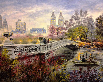 Pallet Knife Painting - An Evening In Central Park by Spencer Yancey