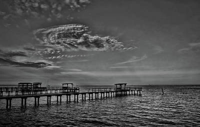 Photograph - An Evening In Kemah Black And White by Judy Vincent