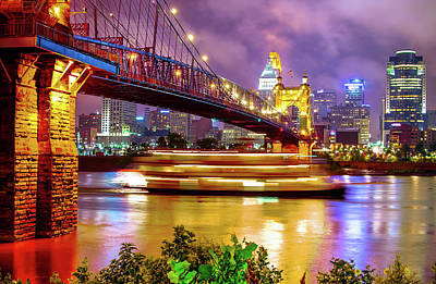 An Evening On The Ohio River - Cincinnati Ohio Art Print by Gregory Ballos
