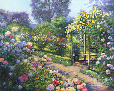 An Evening Rose Garden Art Print By David Lloyd Glover