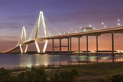 Photograph - An Evening View Of The Ravenel Bridge Charleston Sc by Willie Harper