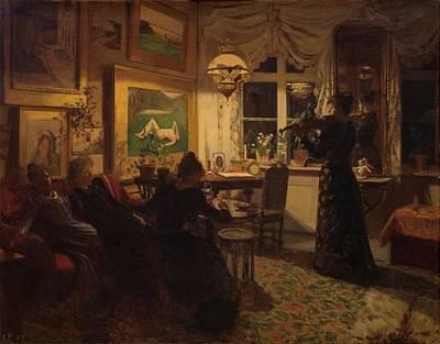 Lamplight Painting - An Evening With Girlfriends by Anna Petersen Lamplight