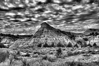 Photograph -  An Expanse Of Desolation In The Badlands Black And by Jeff Swan