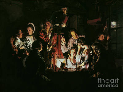 Candle Lit Painting - An Experiment On A Bird In The Air Pump by Joseph Wright of Derby