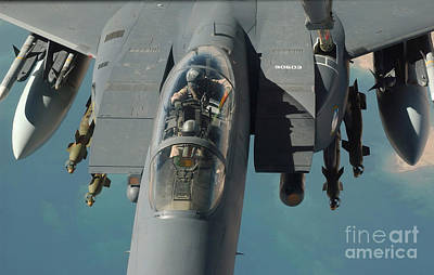 Iraqi Photograph - An F-15 Strike Eagle Prepares To Refuel by Stocktrek Images