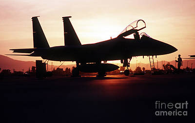 An F-15c Eagle Aircraft Silhouetted Art Print