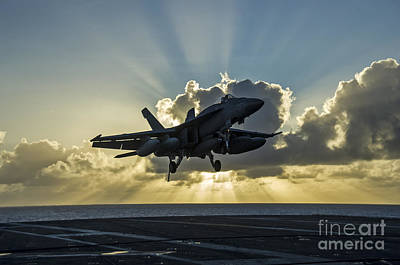Aircraft Carrier Painting - an F A-18E Super Hornet by Celestial Images