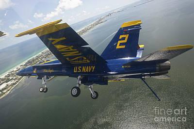 An Fa-18 Hornet Of The Blue Angels Art Print by Stocktrek Images