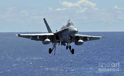 An Fa-18c Hornet Approaches The Flight Art Print