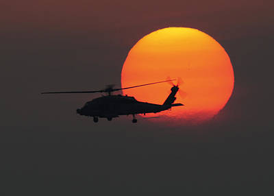 Military Painting - An Hh-60h Sea Hawk Helicopter At Sunset  Us Navy by Celestial Images