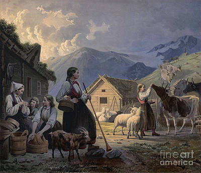 Norway Painting - An Idealized Depiction Of Girl Cow Herders by Celestial Images