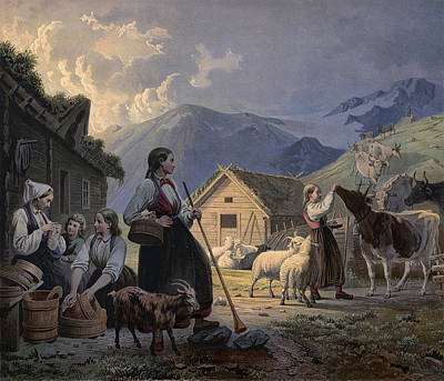 An Idealized Depiction Of Girl Cow Art Print by Knud Bergslien