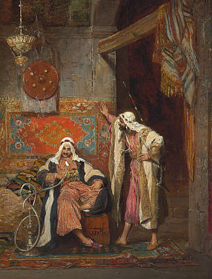 Conversation Painting - An Idle Conversation, 1872 by Arnold Corrodi