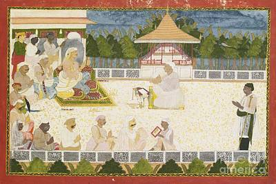 Scribe Painting - An Illustration Depicting Maharaja Ajit Singh Instructing A Scribe by Celestial Images
