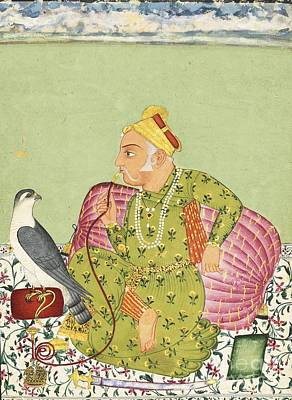 Painting - An Illustration Depicting Raja Sardar Singh Looking Beyond His Falcon by Celestial Images
