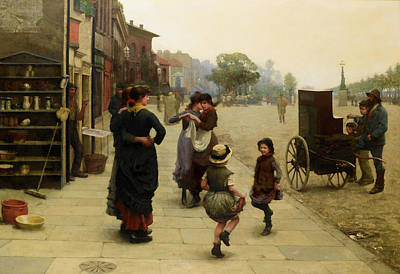 An Impromptu Dance - A Scene On The Chelsea Embankment Art Print by Frederick Brown