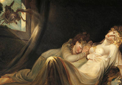 Eerie Painting - An Incubus Leaving Two Sleeping Girls by Henry Fuseli