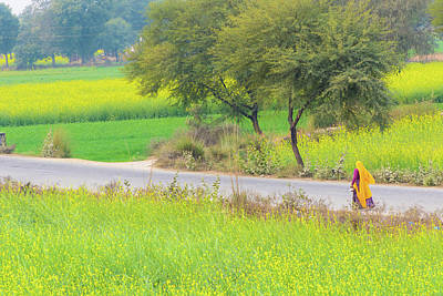 Photograph - An Indian Village Woman On A Road by Nila Newsom