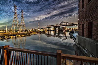 an Industrial river scene Art Print
