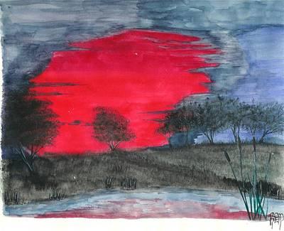 Painting - An Inspired Sunset by Robert Meszaros