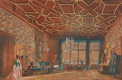 Painting - An Interior In Rosenberg Castle by Rudolf von Alt