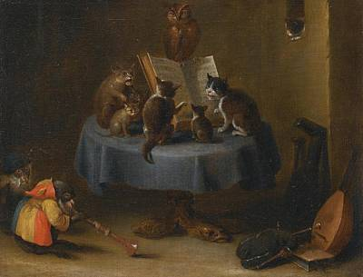Interior Scene Painting - An Interior Scene With Cats by David Teniers
