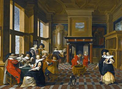 Painting - An Interior Scene With Elegant Figures Playing Music by Dirck van Delen