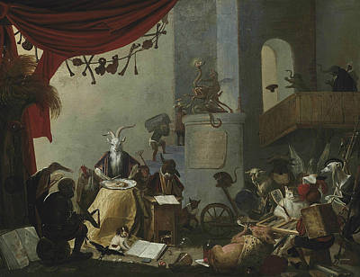 Master Painting - An Interior With A Goat Eating An Oyster A Donkey At A School Desk A Cat Playing Tric Trac Etc by Cornelis Saftleven