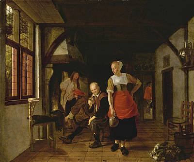 Painting - An Interior With A Maid Holding A Jug And Three Men Beside A Fire by Ludolph de Jongh