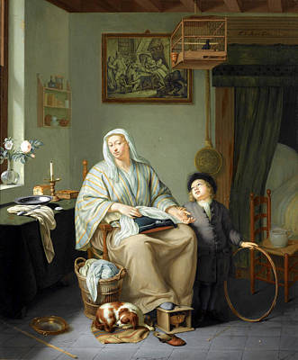 Painting - An Interior With A Woman Doing Needlework And A Young Boy With A Hoop by Frans van Mieris the Younger