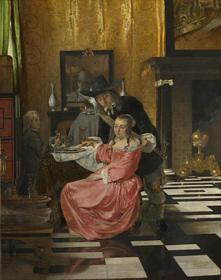 Digital Art - An Interior With A Woman Refusing A Glass Of Wine by Delft