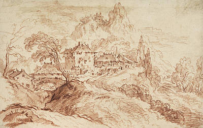Mountain Drawing - An Italian Village In A Mountainous Landscape by Francois Boucher