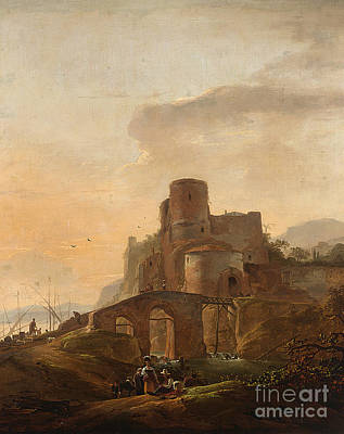 Wyck Painting - An Italianate Landscape With A Bridge by Celestial Images