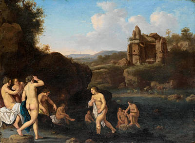Painting - An Italianate Landscape With Nymphs Bathing by Jan van Haensbergen