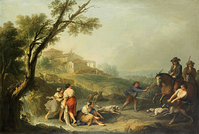 Painting - An Italianate Landscape With Washerwomen Beside A Waterfall And Horesemen And Their Dogs Approaching by Francesco Zuccarelli