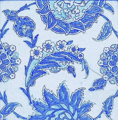 Flower Painting - An Iznik Blue And White Pottery Tile, Turkey, 17th Century, By Adam Asar, No 18a by Adam Asar