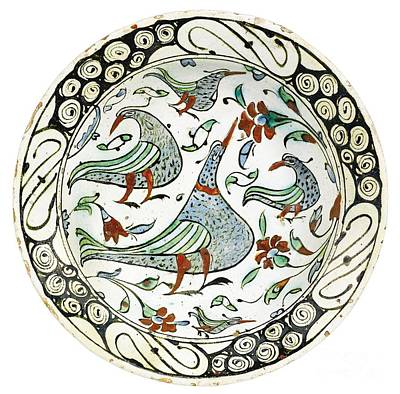 Iznik Painting - An Iznik Polychrome Pottery Dish With Birds by Celestial Images