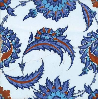 Painting Royalty Free Images - An Iznik polychrome pottery tile, Turkey, circa 1570-85, by Adam Asar, No 18 Royalty-Free Image by Adam Asar