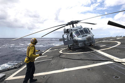 Helicopter Mixed Media - an MH-60R Sea Hawk helicopter by Celestial Images
