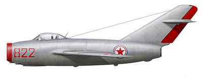 An Mig-15bis Of The North Korean Air Art Print by Chris Sandham-Bailey