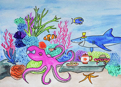 An Octopus's Garden In The Shade Original by Asha Hawkesworth