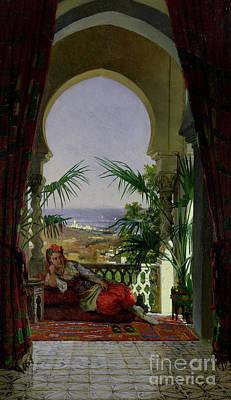 Ceramic Tile Painting - An Odalisque On A Terrace by David Emil Joseph de Noter