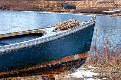 Peeling Painted Wood Wall Art - Photograph - An Old Boat In Winter by Olivier Le Queinec