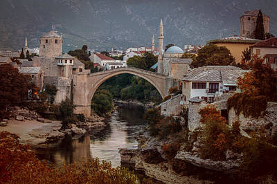 Mostar Photograph - An Old Bridge In Mostar by Jaroslaw Blaminsky